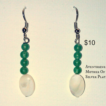 "Earrings: Aventurine, and Mother of Pearl  ""Elegant"""
