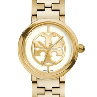 Women's Tory Burch 'Reva' Logo Dial Bracelet Watch, 28mm - Gold/ Ivory