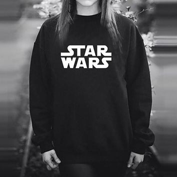 Womens Black Star Wars Movie Logo Letter Print Sweatshirt Women Autumn Winter Clothing Female Pullover Girls Clothes S-2XL