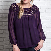 Plus Size Braided Boat Neck Top