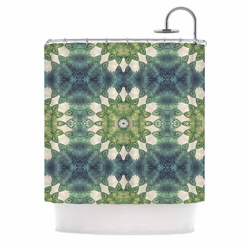 "Art Love Passion ""Forest Leaves Repeat"" Green Teal Geometric Shower Curtain"