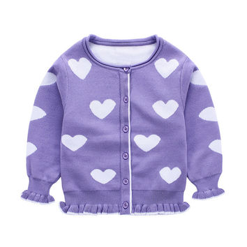 New Baby Girls Sweater Cardigan 2016 Autumn Cotton Clothing Knitted Jacket  Sweater Coat Little Girls Clothes Heart Pattern