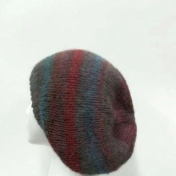 Oversized beanie hat colorful hand knitted - free shipping       4944