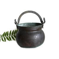 Antique copper CAULDRON, Brass handle, Kitchen rack hanging metal pail SIMPLISTIC, WEATHERED mini bucket Wiccan decoration Fireplace display