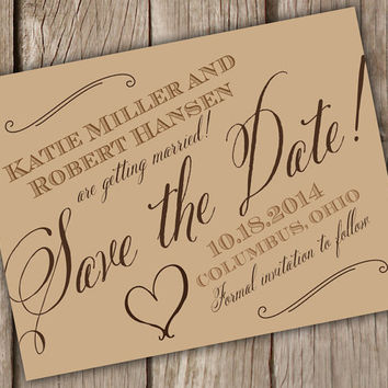 Save the Date postcard - rustic kraft - Save the Date Cards