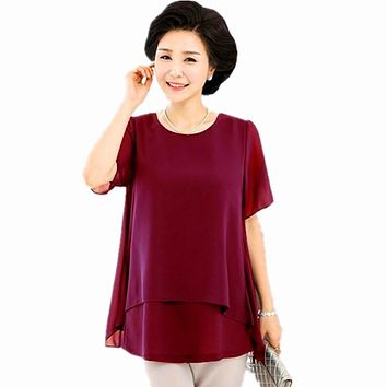 Middle Age Women Summer Tops Big Size Mother Clothes Plus Large Size 5 xl 6 xl 7xl Female Navy Fake Two Piece Chiffon Blouse