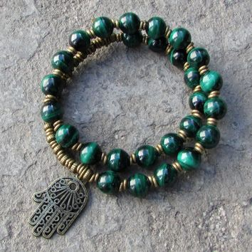 Intuition, Malachite 27 Bead Mala Bracelet with Hamsa Hand
