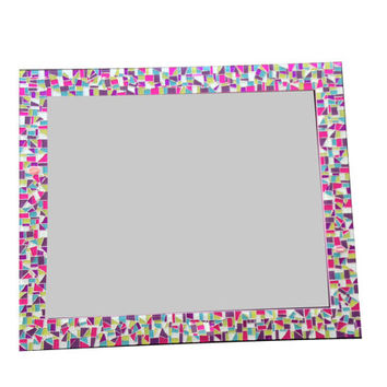 Large Mosaic Wall Mirror in Pink, Purple, Lime Green, Aqua Glitter -- Perfect for Teen Room