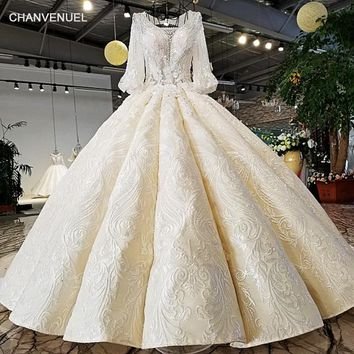 LS32187 100% real off white lantern sleeves beading crystal tassel super puffy design detachable long train length wedding dress