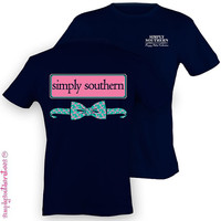 Southern Unisex Preppy Bow T-Shirt on Navy