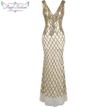 Angel-fashions Gold Sequin Mermaid Gatsby Party Gown Long Prom Dresses 334