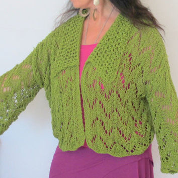 Knit cardigan sweater jacket, green cotton bamboo yarn, hand knit Large