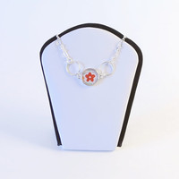 Asian fusion washi necklace - simple minimalist featuring little red flower - inspired by Christian Anderson