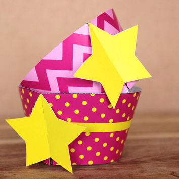 Hot Pink Star 3D Cupcake Wrappers DIY printable party supplies – wraps for baby showers or birthday parties - INSTANT DOWNLOAD