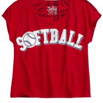 Embellished Sports Tee | Girls Red, White & Bling New Arrivals | Shop Justice