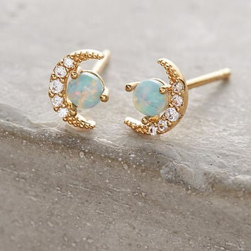 Opal Crescent Earrings