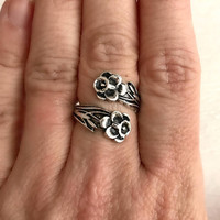 Silver Flower Spoon Ring, vintage adjustable band wrap antique flatware pansy anniversary Christmas romantic gift gifts for girlfriend wife