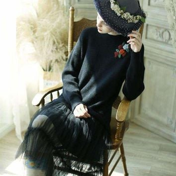 ICIKON3 lynettes chinoiserie  women vintage lace patchwork embroidery mori girls sweater dresses