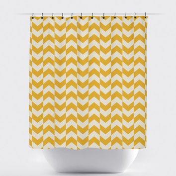Cream/Mustard Cross Stripe Shower Curtain