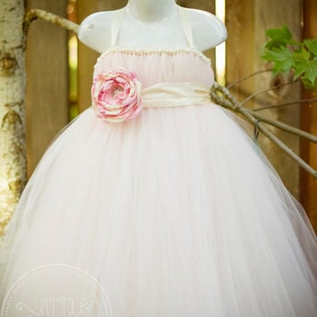 Ivory and Light Pink Flower Girl Tutu Dress with Flower Sash
