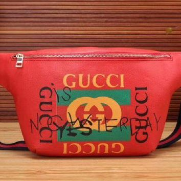 DCCKR2 GUCCI Stylish Ladies Shopping Print Leather Zipper Crossbody Satchel Shoulder Bag Red I-MYJSY-BB