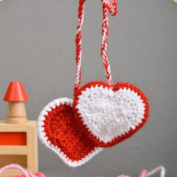 Handmade wall hanging decorations 2 hearts crocheted of semi-woolen threads