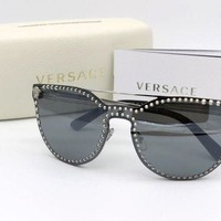 ONETOW NEW Versace Sunglasses Mod.2177 Cat Eye 1000/6G Silver Mirrored 140mm Italy