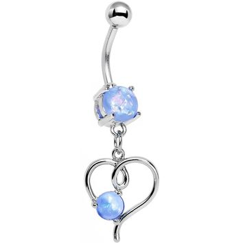 Light Blue Faux Opal Filigree Keep Me in Your Heart Dangle Belly Ring