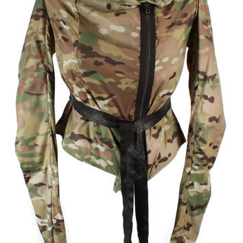 Zip-up Nylon Camo Moto Jacket
