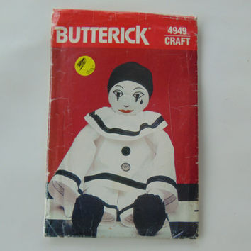 Butterick Craft 4949 Vintage 21 inch stuffed Pierrot Clown Doll Sewing Pattern UNCUT