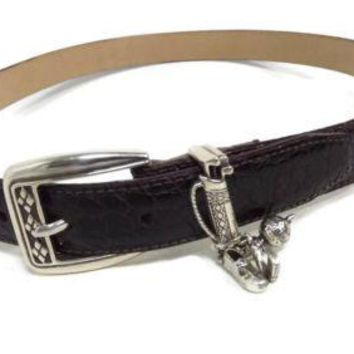 BRIGHTON quality Mens Women s BROWN Croc Leather Belt w/ GOLF Charms size ML 32
