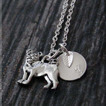 Silver Pug Dog Charm Necklace, Initial Charm Necklace, Personalized Necklace, Dog Lover Charm, Pug Pendant, Pug Dog Jewelry
