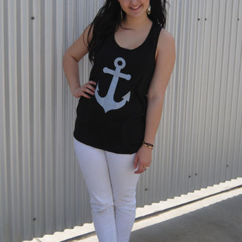 The Anchor and Bow Tank Top in Black