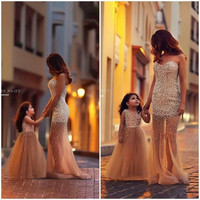 Gorgeous 2016 Cute Mother and Daughter Gold Tulles Princess Flower Girls' Dresses With Pearls Floor Length Girl's Pageant Dress