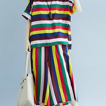 Colorful Striped Two-piece Outfits