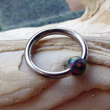 BCR,Captive Black Fire Opal Bead Septum,Upper Ear Daith Rook,Tragus,Cartilage,Helix,Hoop Earring,Nose Ring,Eyebrow Piercing-Body Jewelry