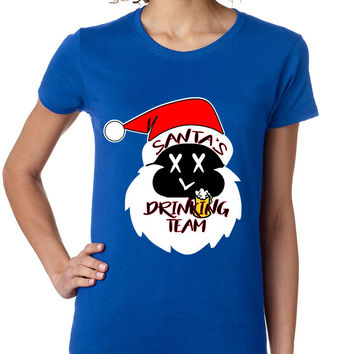 Women's Shirt Santa's Drinking Team Funny Ugly Xmas Shirt