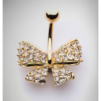 Gold Tone Bling Bow Belly Ring