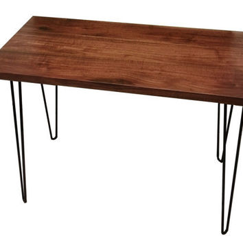 Mid Century Walnut Desk with Hairpin Legs