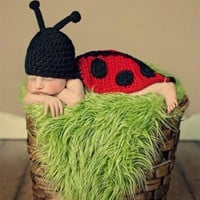 Newborn Baby Crochet Beetle Knit Cute Costume Photo Prop Clothes Set Outfit