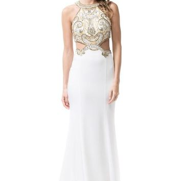 Halter Neck Trumpet Prom Evening Long Dress