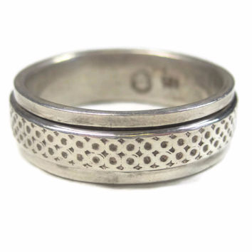 Mens Vintage Sterling Spinner Band Worry Ring Size 14