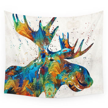 Society6 Colorful Moose Art Confetti By Sharon Cu Wall Tapestry