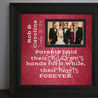 Parents Hold their Children's Hands Wedding frame - Thank you parent gift - Custom Picture Frame - Mom & Dad Gift - 15x15 personalized frame