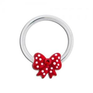 Red Polka Dot Captive Bead Ring
