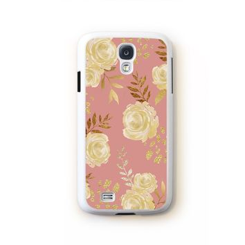 Roses in creme with gold leaf clusters on pink for Galaxy S4 171c6f55c635