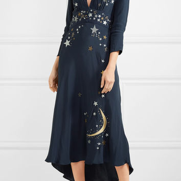 RIXO - Margo embellished embroidered georgette midi dress