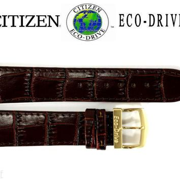 Citizen Eco-Drive E101M-S015588 20mm Brown Leather Watch Band Strap