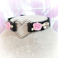 BDSM Daddys Girl Choker Necklace Black Faux Leather Heart Rose Rhinestone Kitten Play Collar pastel goth Lolita Neko Cat DDLG