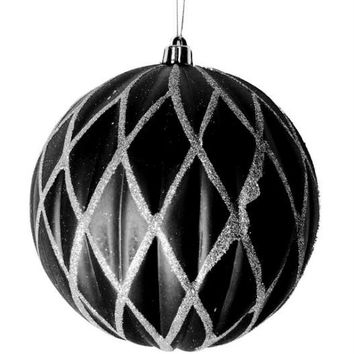 "Christmas Ball Ornament - 6 ""  - Black"